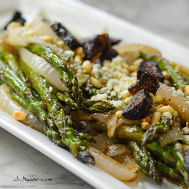 Grilled Asparagus Onion Balsamic and Blue Cheese