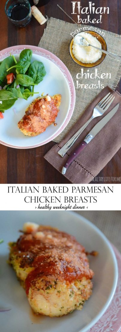 Italian Baked Parmesan Chicken Breast Recipe is a healthy weeknight dinner that will please the whole family   ahealthylifeforme.com