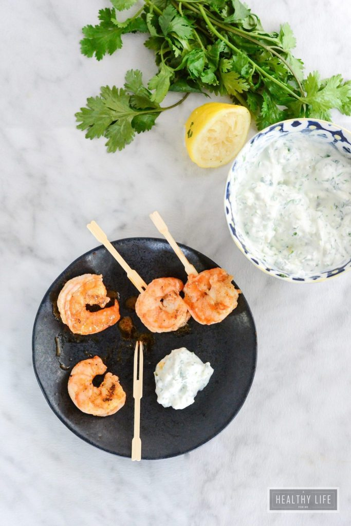 Buffalo Grilled Shrimp with Blue Cheese Dip is a spicy, savory, recipe ready in under 15 minutes | ahealthylifeforme.com