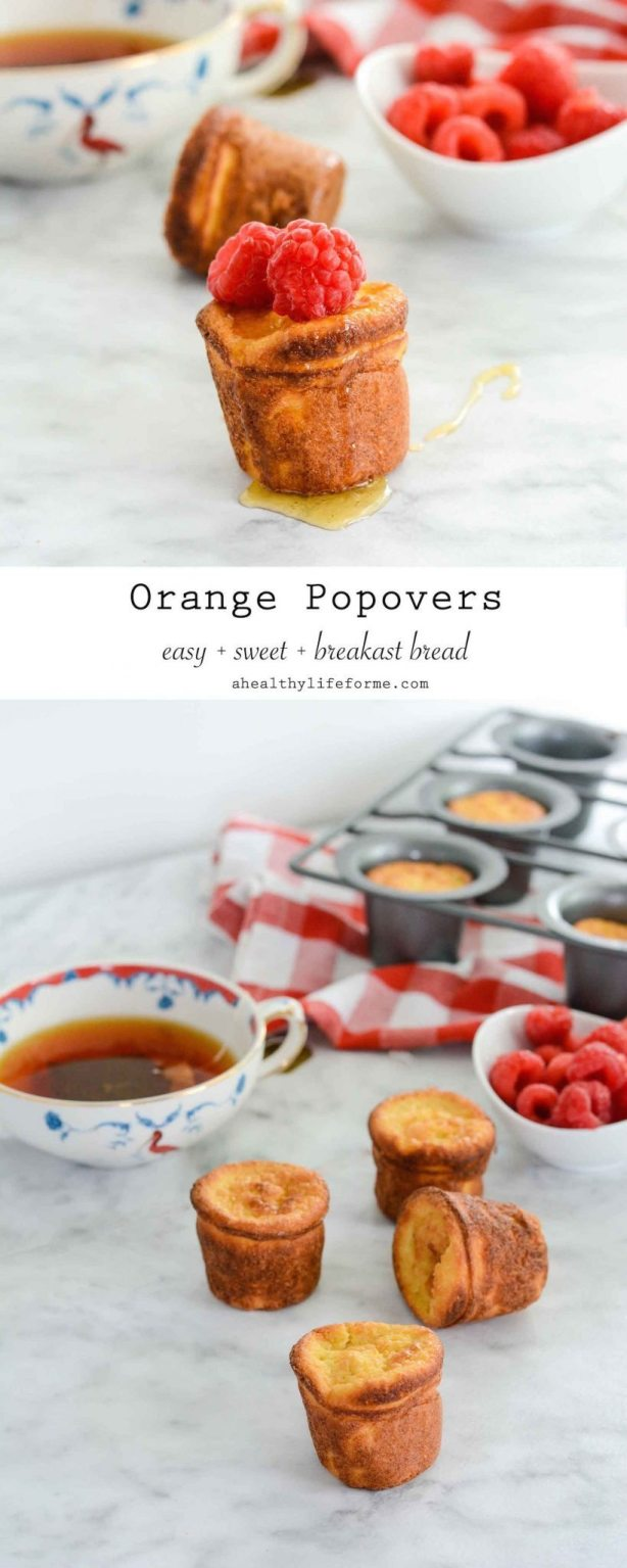 Orange Popover are an easy and sweet gluten free bread recipe that is perfect served with honey or fresh fruit | ahealthylifeforme.com