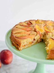 Peach Cake recipe gluten free moist and delicious with two layers of peaches | ahealthylifeforme.com