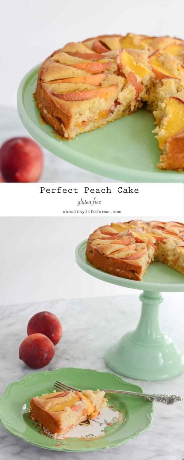 Peach Cake recipe gluten free moist and delicious with two layers of peaches   ahealthylifeforme.com