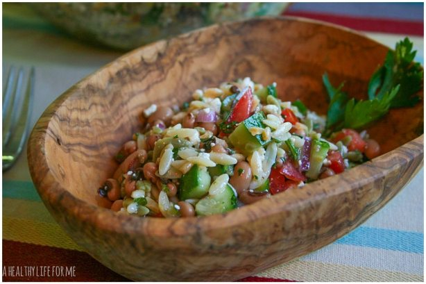 Orzo and Black-Eyed Pea Salad Healthy Good Luck for New Years