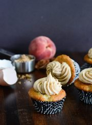 Peach Cupcakes with Brown Sugar Frosting Cupcake Recipe | ahealthylifeforme.com