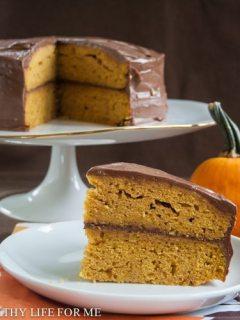 Pumpkin Cake with Dark Chocolate Buttercream Frosting
