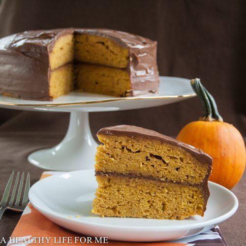 Pumpkin Cake with Dark Chocolate Buttercream Frosting Recipe | ahealthylfieforme.com