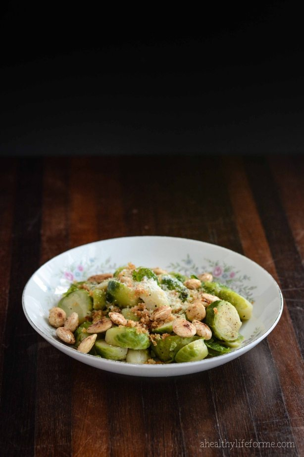 Brussels Sprouts with Toasted Almond Recipe | ahealthylifeforme.com