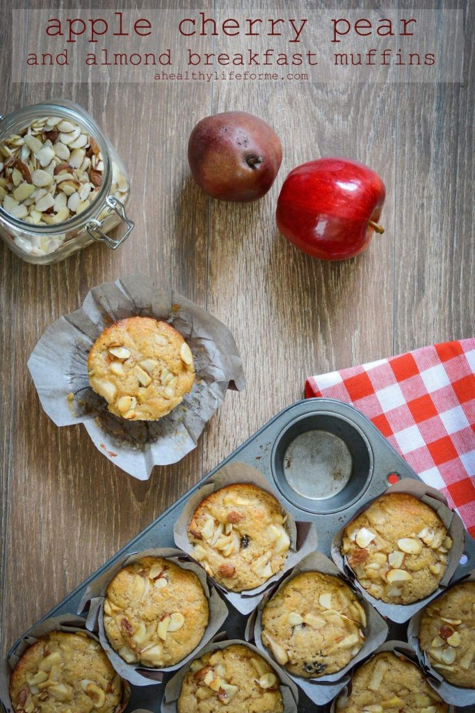 Apple Cherry Pear Almond Breakfast Muffins Recipe | ahealthylifeforme.com