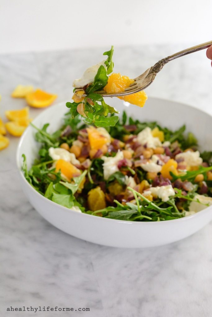 Arugula Salad with Beans and Orange Vinaigrette is a bright, sweet and savory summer salad. Loaded with peppery arugula, sauteed red onion, fresh orange, creamy burrata cheese topped with sweet orange vinaigrette   ahealthylifeforme.com