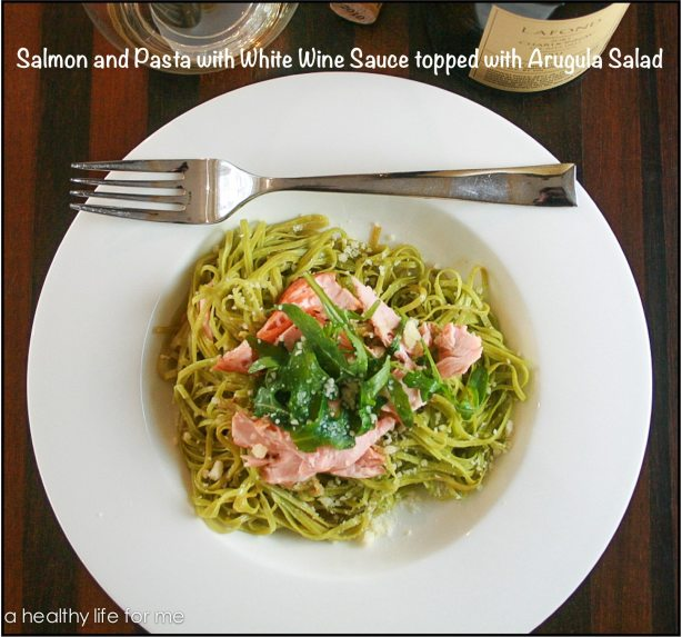 Healthy Easy Salmon-and-Pasta-with-White-Wine-Sauce-and-Arugula-Salad