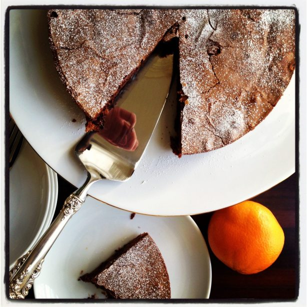 Double Chocolate Orange Cake with Raspberry Sauce