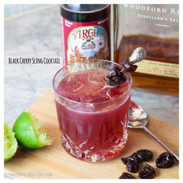 Black Cherry Sling Cocktail  with Bourbon and Virgils Black Cherry Cream Soda
