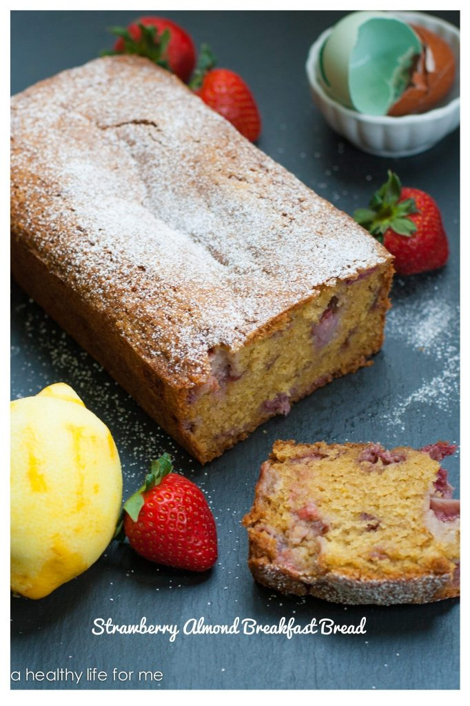 Strawberry Almond Breakfast Bread moist delicious and packed with healthy ingredients | ahealthylifeforme.com