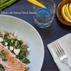 Salmon with Quinoa Feta and Spinach