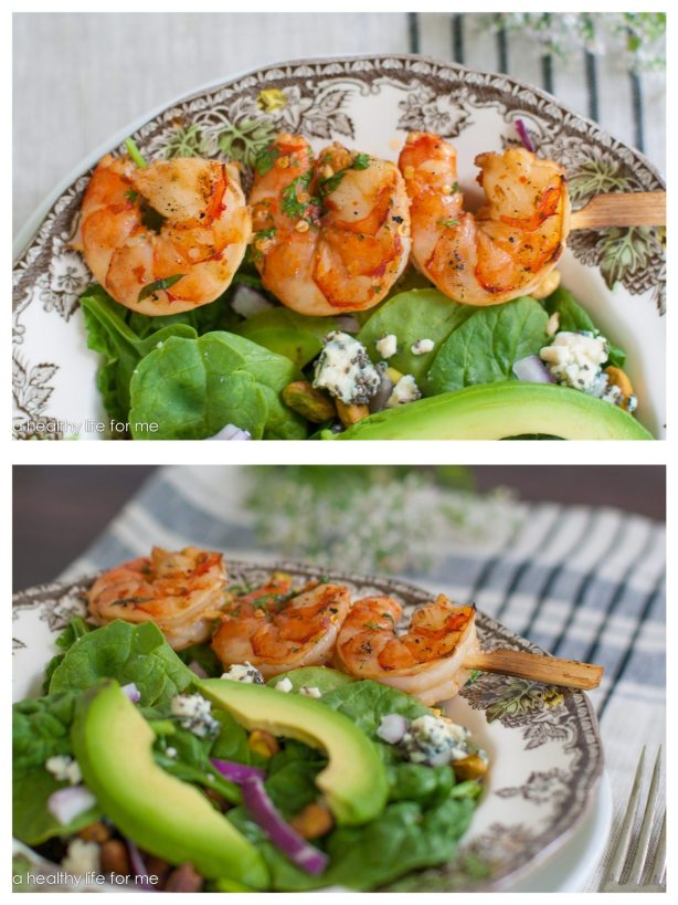 Shrimp Cilantro Spinach Blue Cheese Chia Seeds Pistachio Vinaigrette