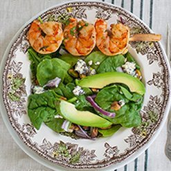 Grilled Spicy Cilantro Shrimp and Spinach Salad