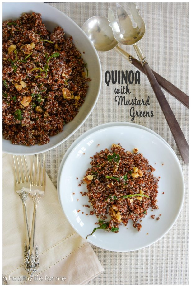 Quinoa with steamed mustard greens Healthy Superfood