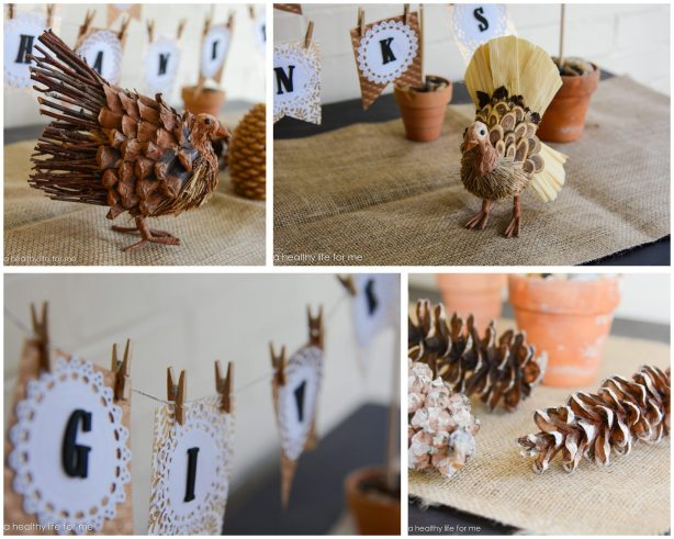 Decorating Foyer Table For Thanksgiving with Banner and using Natural Elements