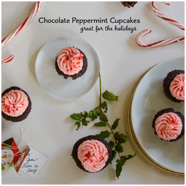 Chocolate Peppermint Cupcakes great for holiday gifts and dessert