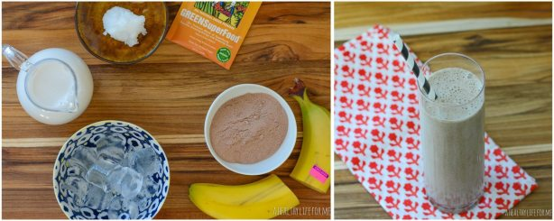 Chocolate Coconut Banana Superfood Smoothie Ingredients