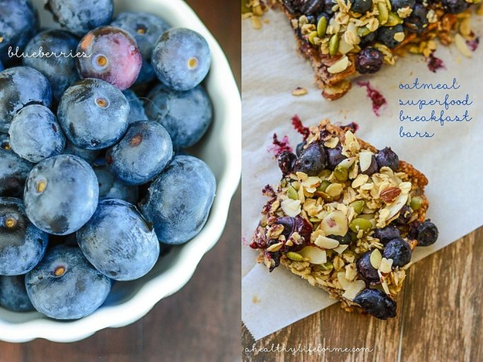 Oatmeal Blueberry Superfood Breakfast Bars are loaded with healthy ingredients for a great morning pick me up | ahealhtylifeforme.com