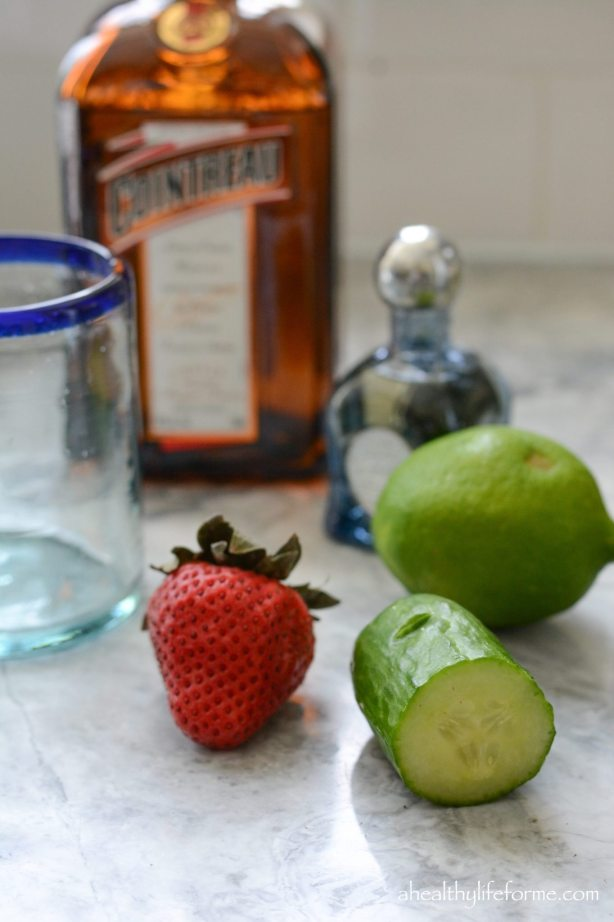 Ingredients for Frozen Strawberry Cucumber Margarita