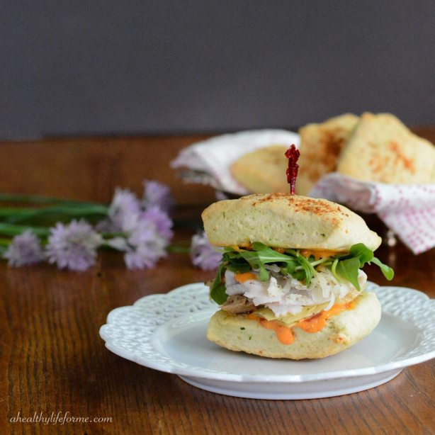 Italian Turkey Sandwich with Chive Parmesan Biscuits | ahealthylifeforme.com