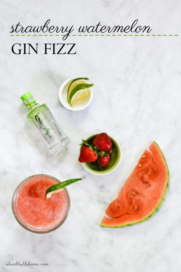 Strawberry Watermelon Gin Fizz   ahealthylifeforme.com
