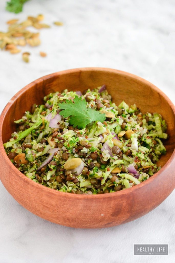 Broccoli Quinoa Lentil Salad Recipe Healthy High Protein and Amino Acid | ahealthylifeforme.com