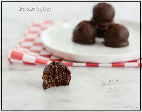 Gluten Free Paleo and Dairy Free Chocolate Fig Bites Recipe | ahealthylifeforme.com