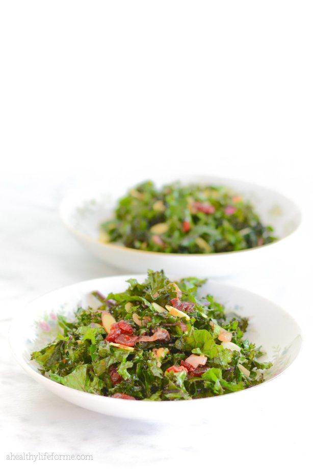 Kale Salad with Cherry Almond Vinaigrette | ahealthylifeforme.com