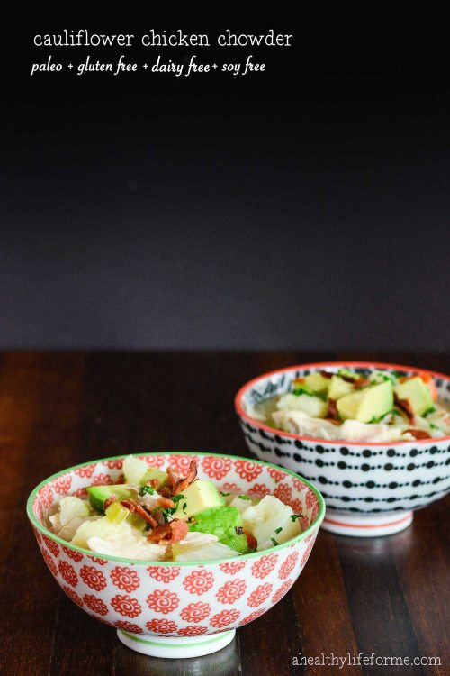 Paleo Cauliflower chicken Soup Recipe with ahealthylifeforme.com