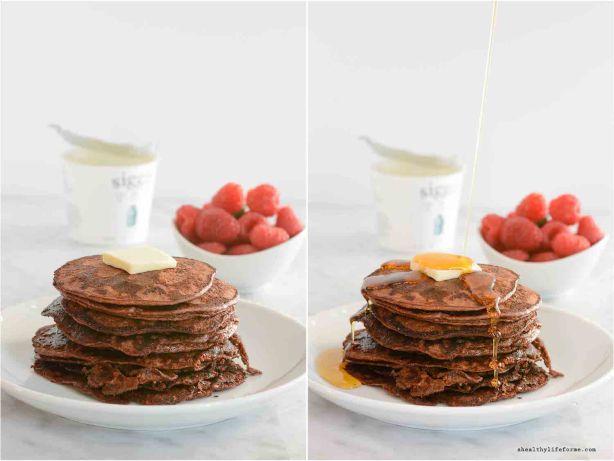 Gluten Free Chocolate Protein Pancake Recipe   ahealthylifeforme.com