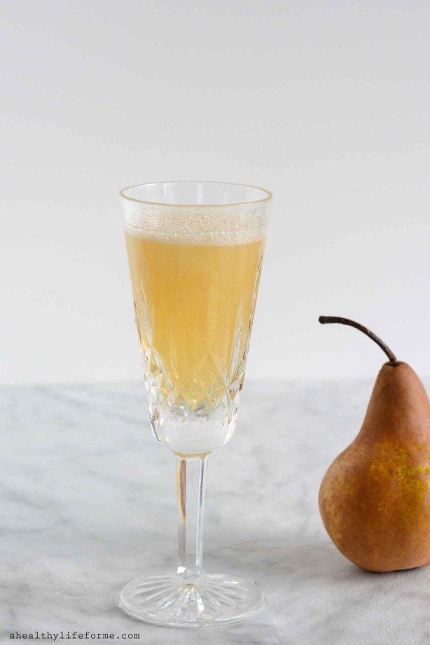 Sparkling Pear Cocktail has a little brandy, apple cider, champagne and fresh pear everything for a celebration in a glass-3