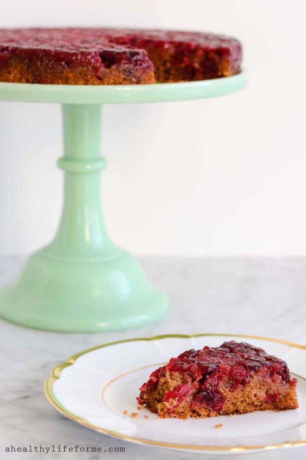 gluten free cranberry upside down cake-3