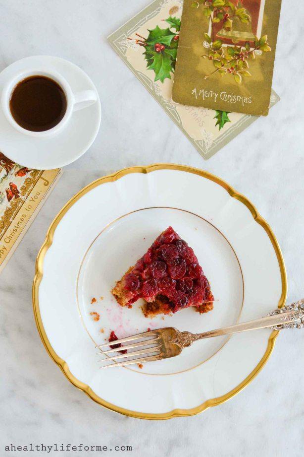 gluten free cranberry upside down cake-4