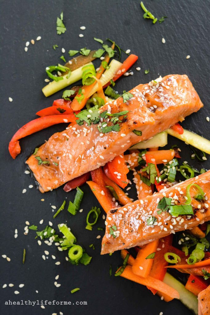 Paleo Salmon Teriyaki gluten free and dairy free healthy easy and ready in under 30 minutes | ahealhtylifeforme.com