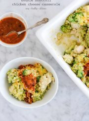 Double Broccoli Chicken Cheese Casserole healthy easy and delicious recipe | ahealthylifeforme.com