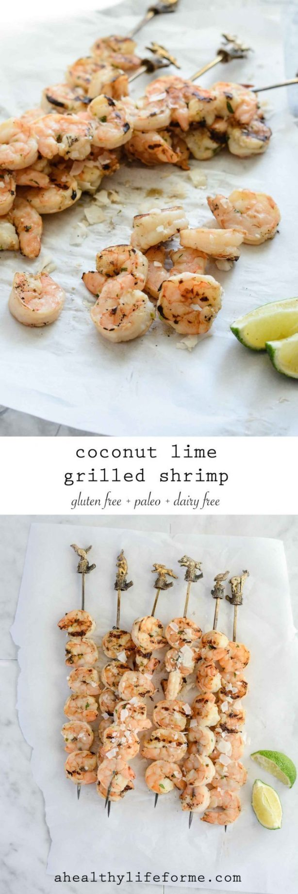 Coconut Lime Grilled Shrimp Gluten Free Paleo Dairy Free Recipe | ahealhtylifeforme.com