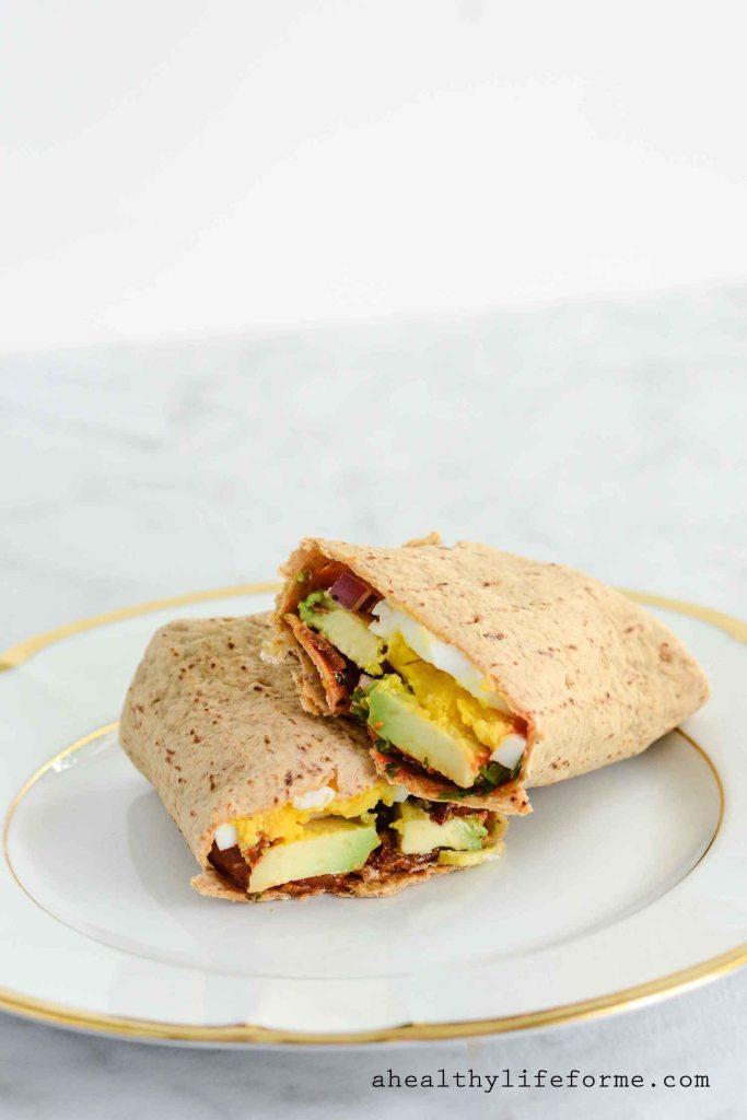 Egg and Avocado Wrap Low Carb High Protein Recipe | ahealthylifeforme.com