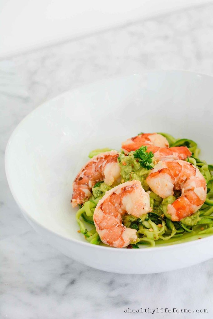 Zucchini Noodles Shrimp Scamp with Avocado Sauce is a gluten free, paleo, dairy free recipe that is ready in under 20 minutes | ahealthylifeforme.com