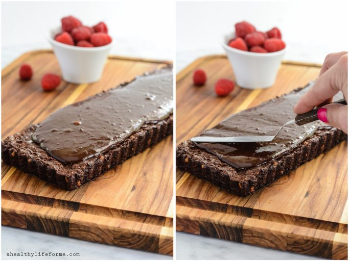Chocolate Walnut Tart with Raspberries is a triple dose of chocolate that makes this one incredible dessert. I kept the recipe clean, so this tart is gluten free, dairy free and paleo friendly.