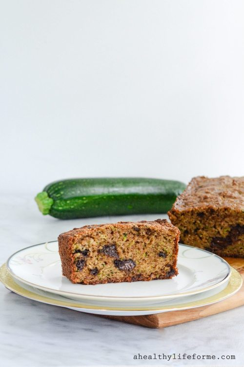 Gluten Free Zucchini Bread is loaded with shredded zucchini keeping it moist with a well needed sprinkle of chocolate throughout. The recipe is grain free, dairy free, paleo friendly | ahealthylifeforme.com