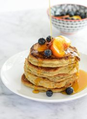 Paleo Peach Pancakes are the best little paleo pancake you ever did make. Gluten Free, Grain Free, Dairy Free | ahealthylifeforme.com