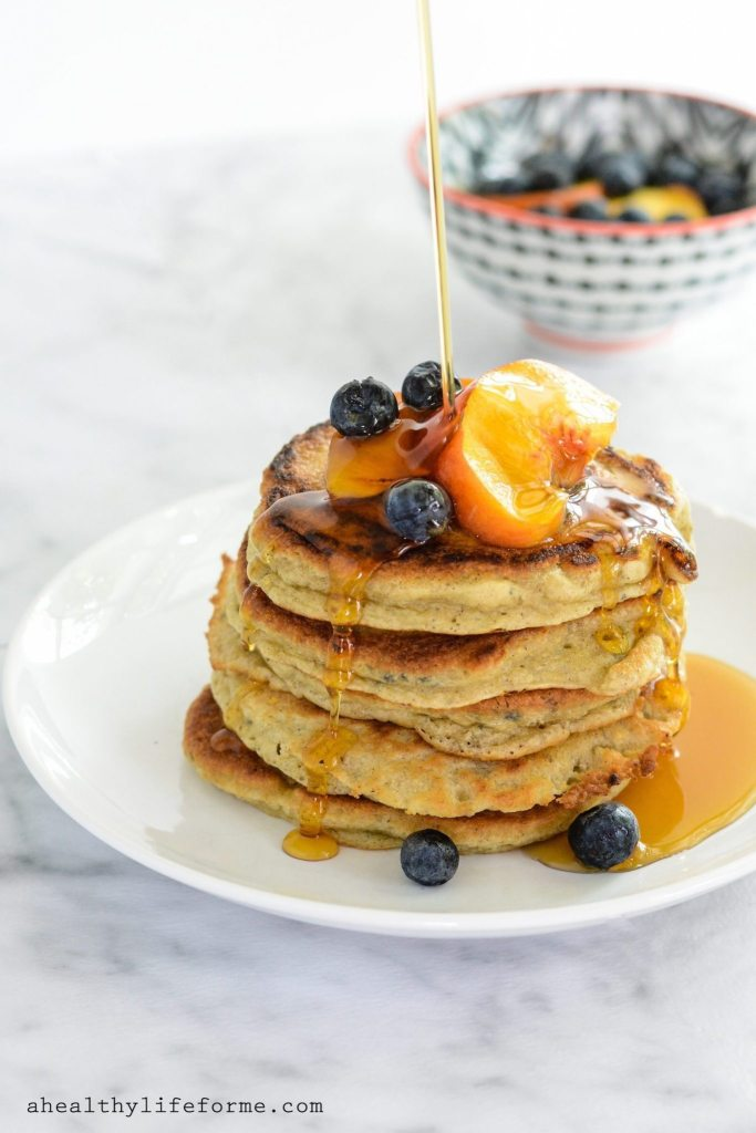 Paleo Peach Pancakes from ahealthylifeforme.com. I was looking for the best Paleo pancakes and these look amazing! I can't wait to make this for a grain free breakfast. Collected on FoodKollective.com