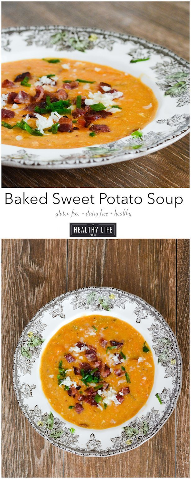 Baked Sweet Potato Soup is a creamy good for you easy to prepare soup   ahealthylifeforme.com