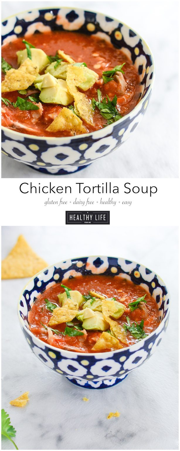 Chicken Tortilla Soup is a healthy and simple soup that has layers of fresh flavor | ahealthylifeforme.com