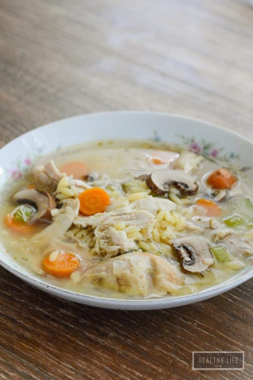 Lemony Chicken and Orzo Soup is a healthy, light and fresh soup that is ready in 30 minutes   ahealthylifeforme.com