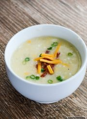 Light Potato Cheese Soup made in a slow cooker is delicious, simple and comforting   ahealthylifeforme.com