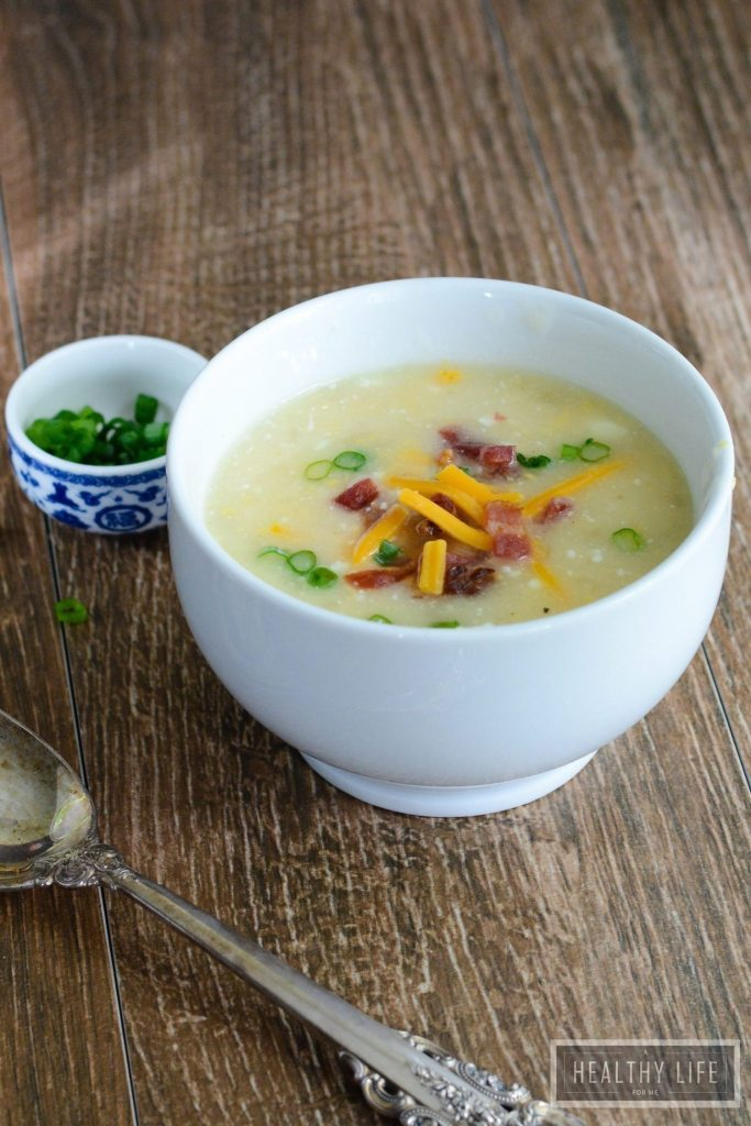 Light Potato Cheese Soup made in a slow cooker is delicious, simple and comforting | ahealthylifeforme.com